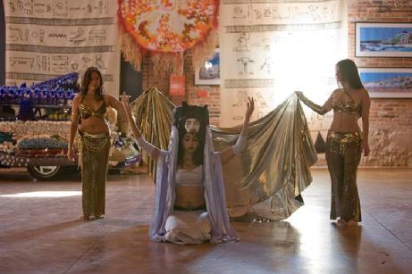 Rowena, Bastet, and Stephanie of the Daughters of Rhea dance at the American Visionary Art Museum in Baltimore