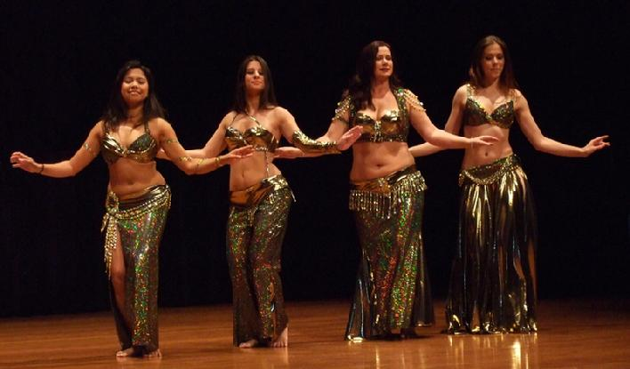 "Rowena, Stephanie, Sara Beth, and Leyla Fahada peforming Piper's ""in the music"" drum solo choreography at Belly Dance Magic 2007"
